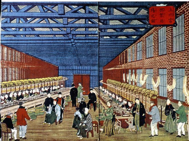 La filature de soie de Tomioka, Japon, vers 1875.