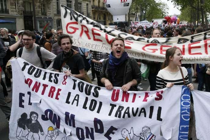 Manifestation contre le projet de loi travail à Paris, le 17 mai.