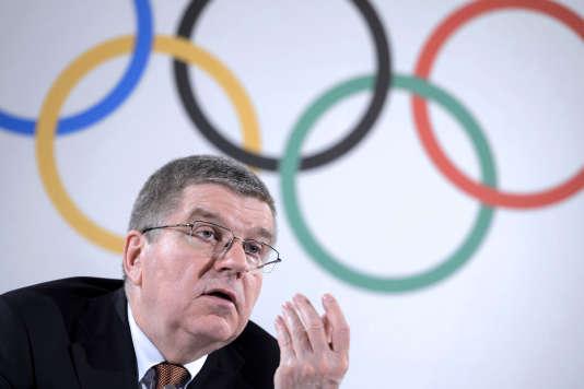 Le président du Comité international olympiqueThomas Bach à une conférence de presse le 2 mars à Lausanne.