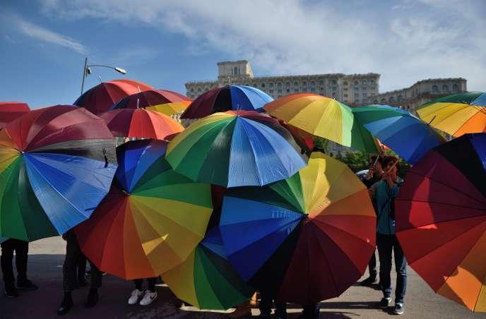 Journée internationale contre l'homophobie à Bucarest (Roumanie), le 17 mai.
