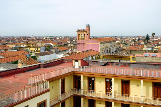 Vue de Casal di Principe, avec la tour centrale et le palazzo Coppola.