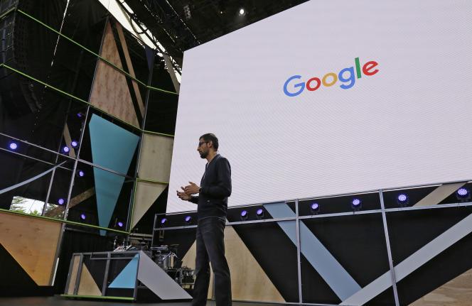 Sundar Pichai, le PDG de Google, à l'ouverture de la conferenceGoogle I/O.