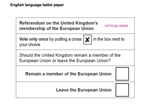 Le bulletin avec lequel les électeurs britanniques vont voter, le 23 juin.