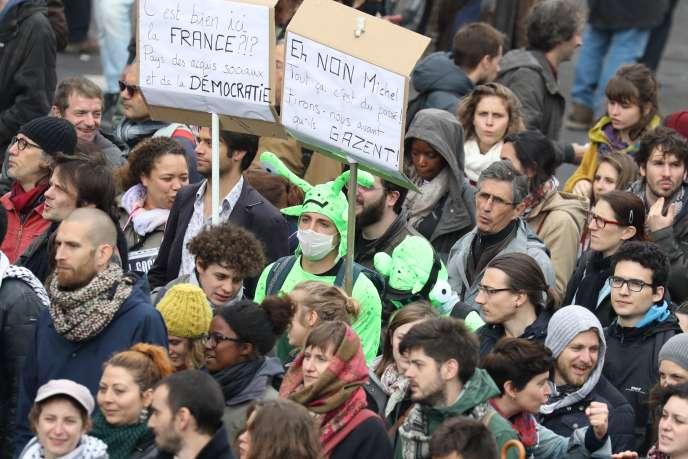 Défilé parisien contre le projet de loi de réforme du code du travail, le 19 mai 2016.