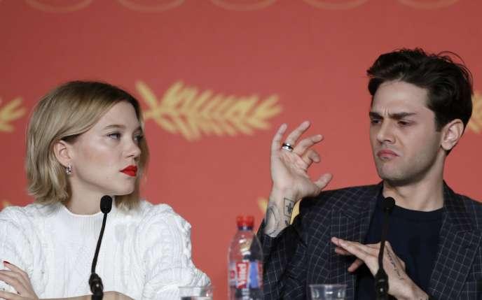 L'actrice Léa Seydoux et le réalisateur Xavier Dolan lors d'une conférence de presse à Cannes, le 19 mai 2016.