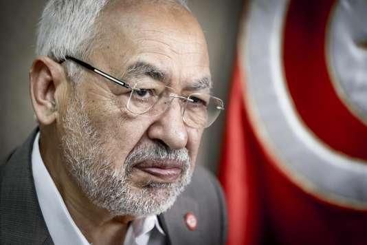 Portrait de Rached Ghannouchi, président du parti Ennahdha, chez lui, le 17mai2016.