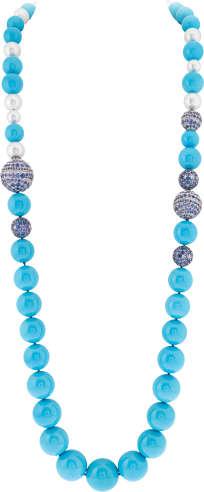 Sautoir transformable Khvalissian. Or blanc, diamants ronds, saphirs bleus et mauves ronds suiffés, perles de culture blanches et boules de turquoise. Collection Seven Seas de Van Cleef & Arpels.
