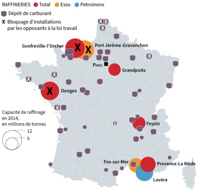 Les principaux dépôts de carburants et raffineries français.