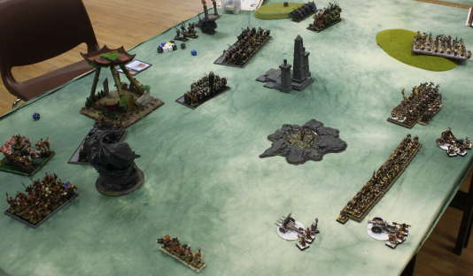 Une bataille du jeu de plateau Warhammer Battle.