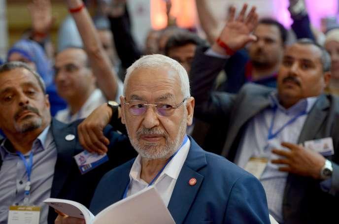 Rached Ghannouchi, le leader d'Ennahda,lors du dixième congrès du parti, dimanche 22mai à Hammamet.