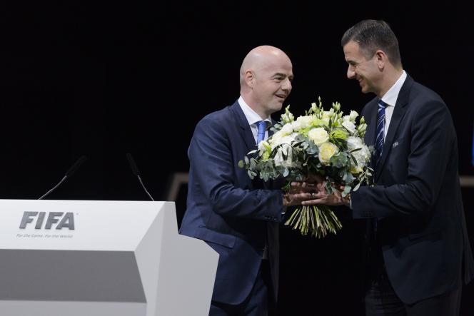 Gianni Infantino et Markus Kattner, le 26 février, à Zurich.