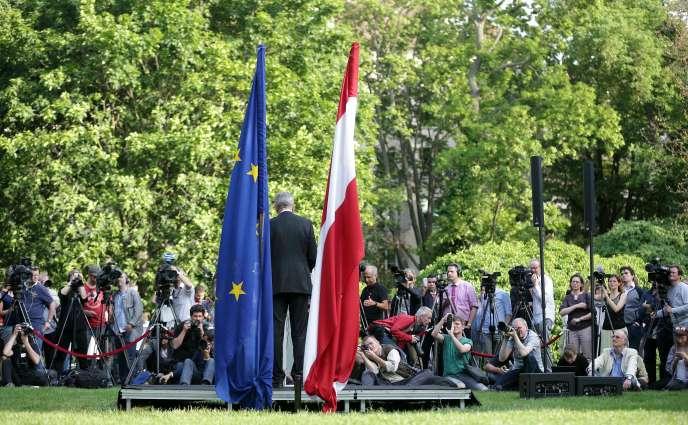 Conférence de presse du nouveau président autrichien Alexander Van der Bellen à Vienne le 23 mai.
