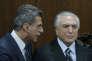 Le président par intérim, Michel Temer (à droite) avec son ministre de la planification, Romero Juca, à Brasilia, lundi 23 mai 2016.