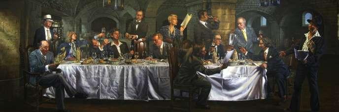 « After the Upset » (2012), fresque de Gary Myatt représentant le « Jugement de Paris » du 24 mai 1976, exposée à l'Hôtel The Vineyard, à Stockcross, en Angleterre.