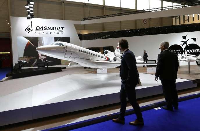 Le stand Dassault aviation au Salon de l'aviation deGenève en 2016.