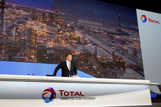 Patrick Pouyanné, PDG du groupe, lors de l'Assemblée générale de Total, mardi 24 mai 2016.