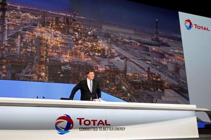 Patrick Pouyanné, PDG du groupe, lors de l'assemblée générale de Total, à Paris, mardi 24 mai.