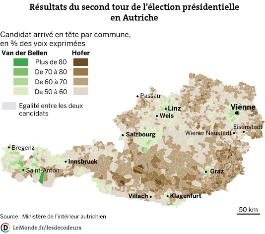 LES DECODEURS - Carte des résultats du second tour de l'élection présidentielle en Autriche.