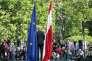 Pendant la conférence de presse d'Alexander Van der Bellen au palais présidentiel, à Vienne, après sa victoire le 23 mai 2016.