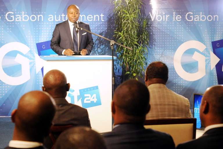 Le ministre de la communication, Alain-Claude Bilie By Nze, lors de la cérémonie de lancement de Gabon 24.