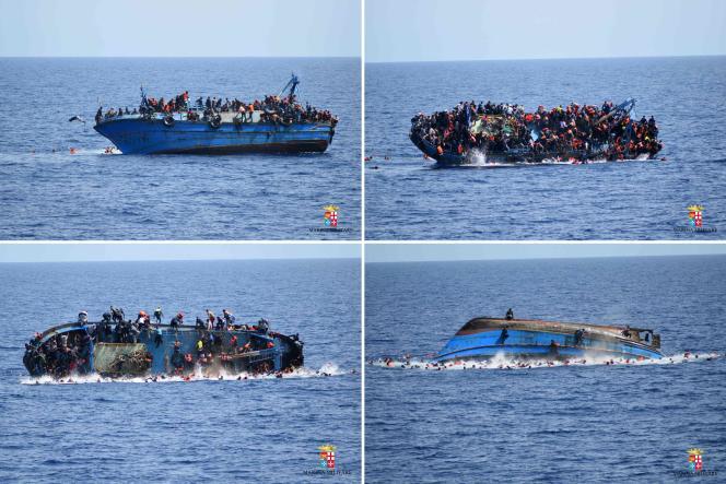 Des images d'un naufrage survenu au large de la Libye le 25 mai 2016, diffusées parla marine italienne.