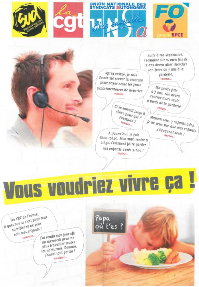 Tract syndical contre le projet de réorganisation des centres de relation client de la Caisse d'épargne Île-de-France