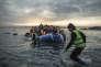 Bateaux de réfugiés tentant de gagner lîle de Lesbos, en Grèce, en février.