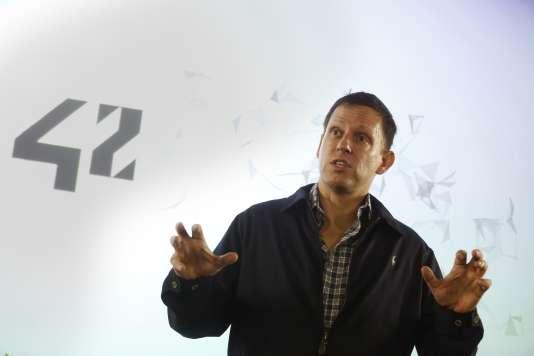 Peter Thiel, en février, lors d'une conférence à l'Ecole42, à Paris, (créée par Xavier Niel, actionnaire à titre individuel du groupe Le Monde).