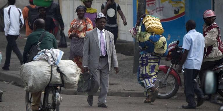 Dans une rue de Goma, chef-lieu de la province du Nord-Kivu,le 21 avril.