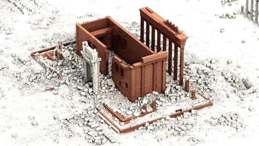 Modèle 3D du temple de Bêl. En blanc, les blocs numérisés après la destruction de la cella. En couleur brique, la restitution du sanctuaire avant sa destruction, grâce à des documents d'archives.