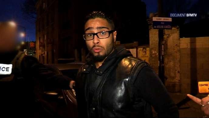 Jawad Bendaoud parle sur BFMTV le 25 novembre au moment de l'assaut de son appartement loué par Abdelhamid Abaaoud.