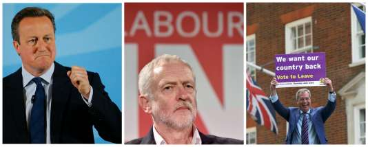 Les leaders du Labour, Jeremy Corbyn, et des conservateurs, David Cameron, sont tous deux en faveur d'un maintien du Royaume-Uni dans l'Union européenne. Le chef du UKIP, Nigel Farage, milite pour une sortie de l'UE.