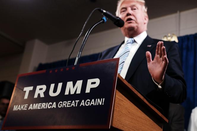 Donald Trump lors d'une conférence de presse jeudi 26 maià Bismarck (Dakota du Nord).
