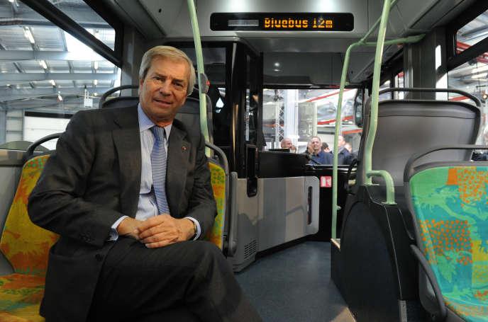 Vincent Bolloré dans un Bluebus le 15 janvier.