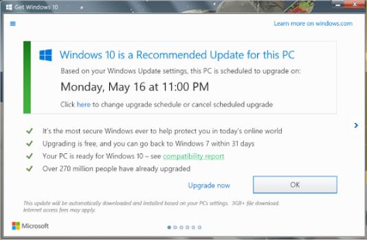 Si l'utilisateur ferme cette fenêtre, alors Windows 10 s'installera automatiquement sur son ordinateur.