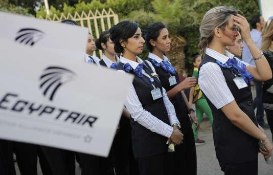 Une veillée a été organisée au Caire (Egypte), le 26 mai 2016, en hommage aux 66 passagers du vol Egyptair qui a disparu le 19 mai au largedes côtes égyptiennes.