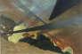 Verdun. Tableau de guerre interprété, projections colorées noires, bleues et rouges, terrains dévastés, nuées de gaz. Valloton 1917