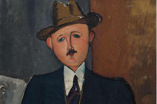 Homme assis (appuyé sur une canne) 1918 (huile sur toile) par Modigliani.