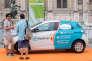 Exposition Innov'Climat devant l'Hôtel de Ville de Paris, le 4 juillet 2015. Koolicar, locationde voitures entre particuliers en libre-service.