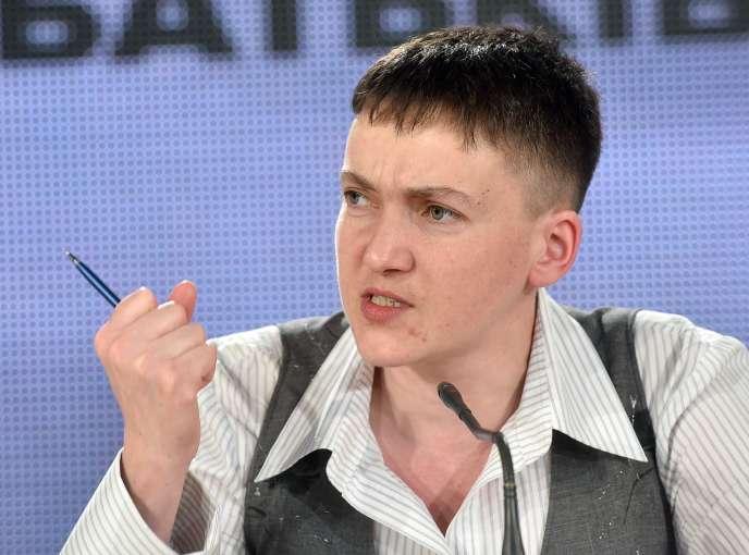 Nadejda Savtchenko lors de sa conférence de presse à Kiev, en Ukraine, le 27 mai.