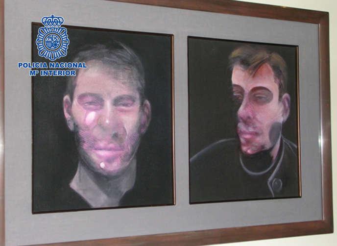 L'un des cinq tableaux de Francis Bacon retrouvés par la police espagnole, le 28 mai 2016.