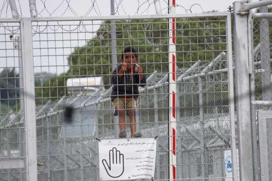 Le camp de detention de Moria sur lîle grecque de Lesbos le 24 mai 2016.
