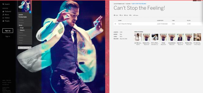 La page MySpace du chanteur Justin Timberlake.