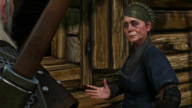 Dans la région de Blanchefleur, cette dame âgée a perdu son poêle. Après une mini-enquête macabre, Geralt le retrouvera dans la cheminée.