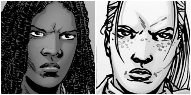 Michonne (à gauche) et Andrea, sont des personnages centraux du comic book«TheWalking Dead».