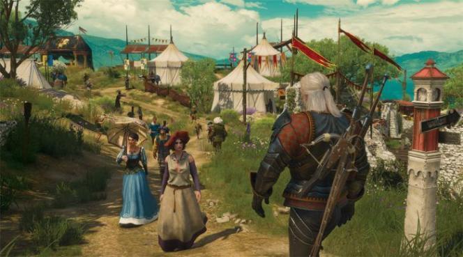 Geralt (de dos), le héros de la série «The Witcher», ici dans sa dernière extension, «Blood & Wine».