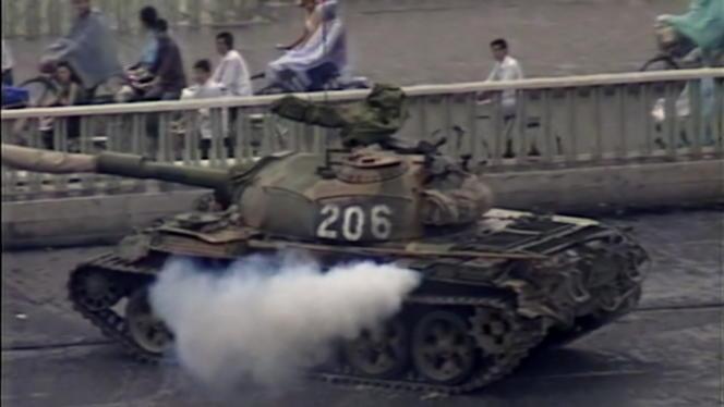 Sur la place Tiananmen en 1989.