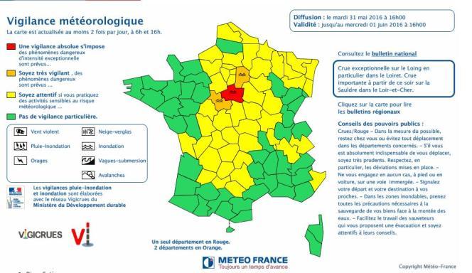 La carte de Météo France à 16 heures.