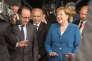 Francois Hollande et Angela Merkel, lors de l'inauguration du tunnel du Gottard, à Pollegio en Suisse le 1er juin.
