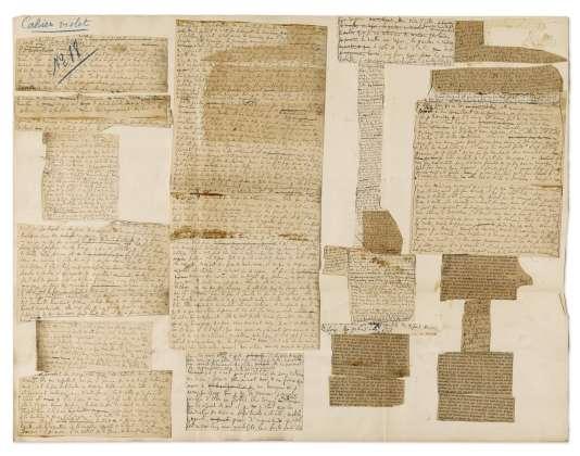 L'exceptionnel placard, n°18 d'«A l'ombre des jeunes filles en fleurs» [1914-1919], de Marcel Proust, presque entièrement manuscrit, a été vendu 111 000 euros chez Sotheby's, mardi 31 mai.